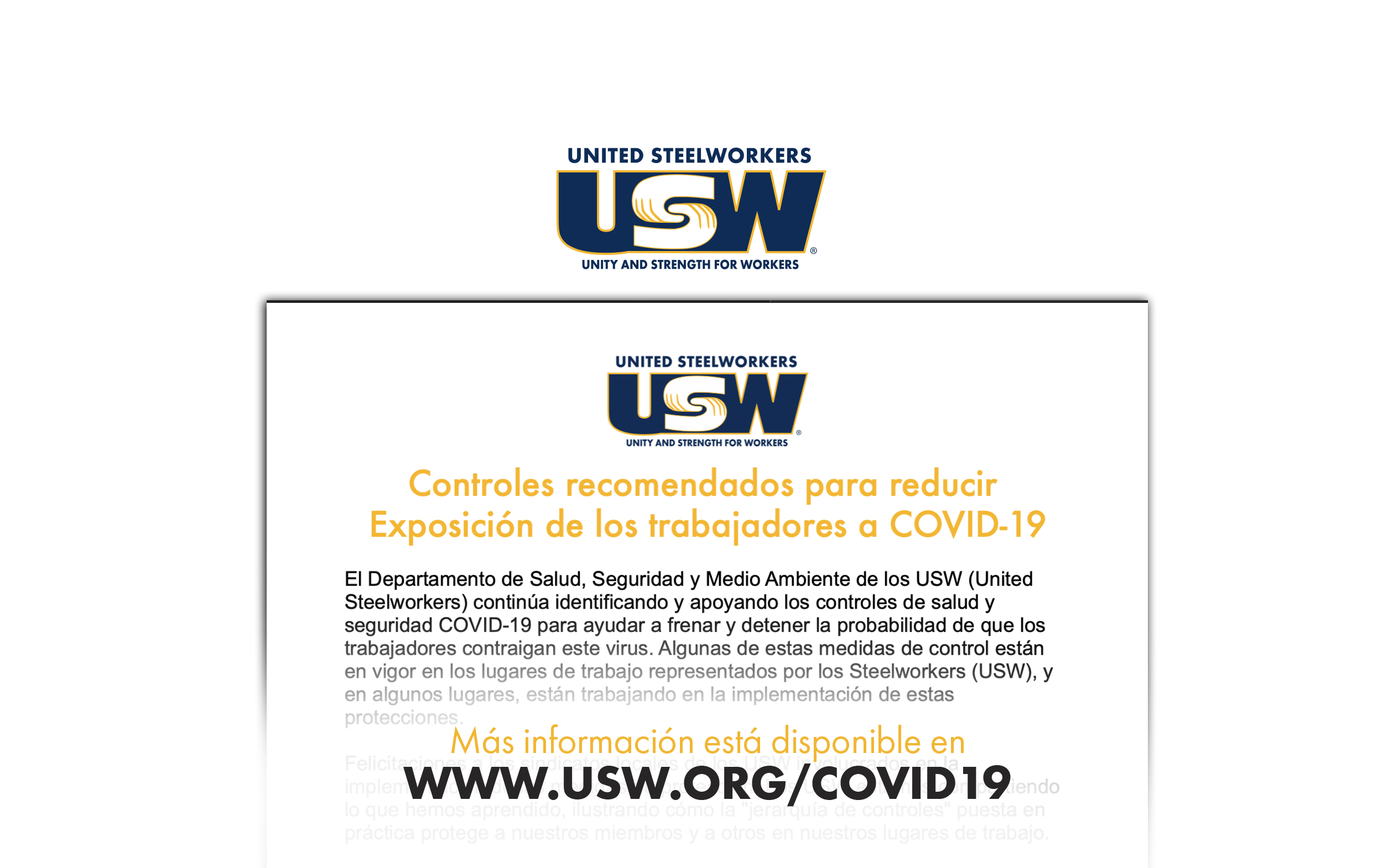 COVID-19: Recommended Controls to Reduce Worker Exposures to COVID-19 in English and en Español