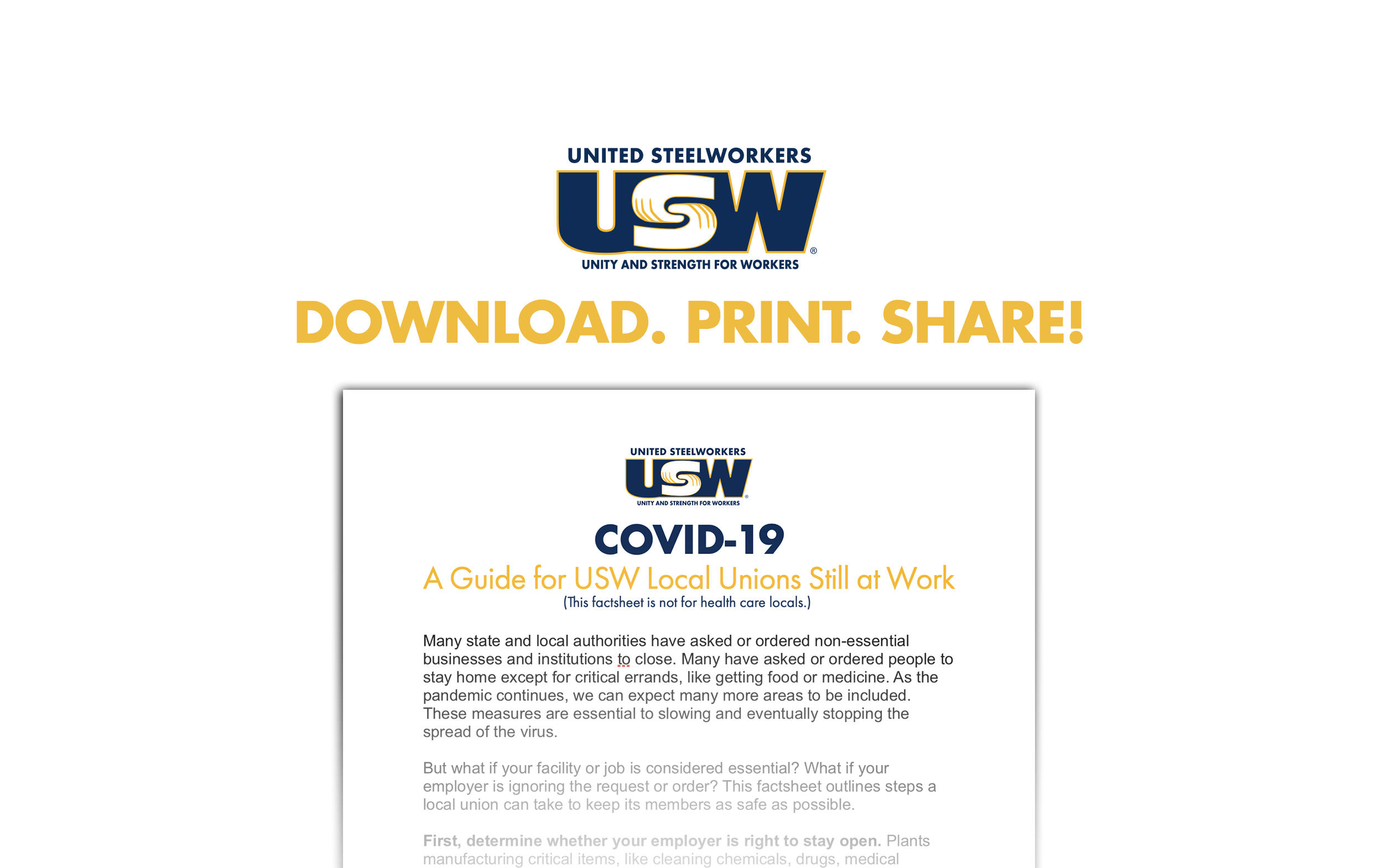 COVID-19: A Guide for USW Local Unions Still at Work