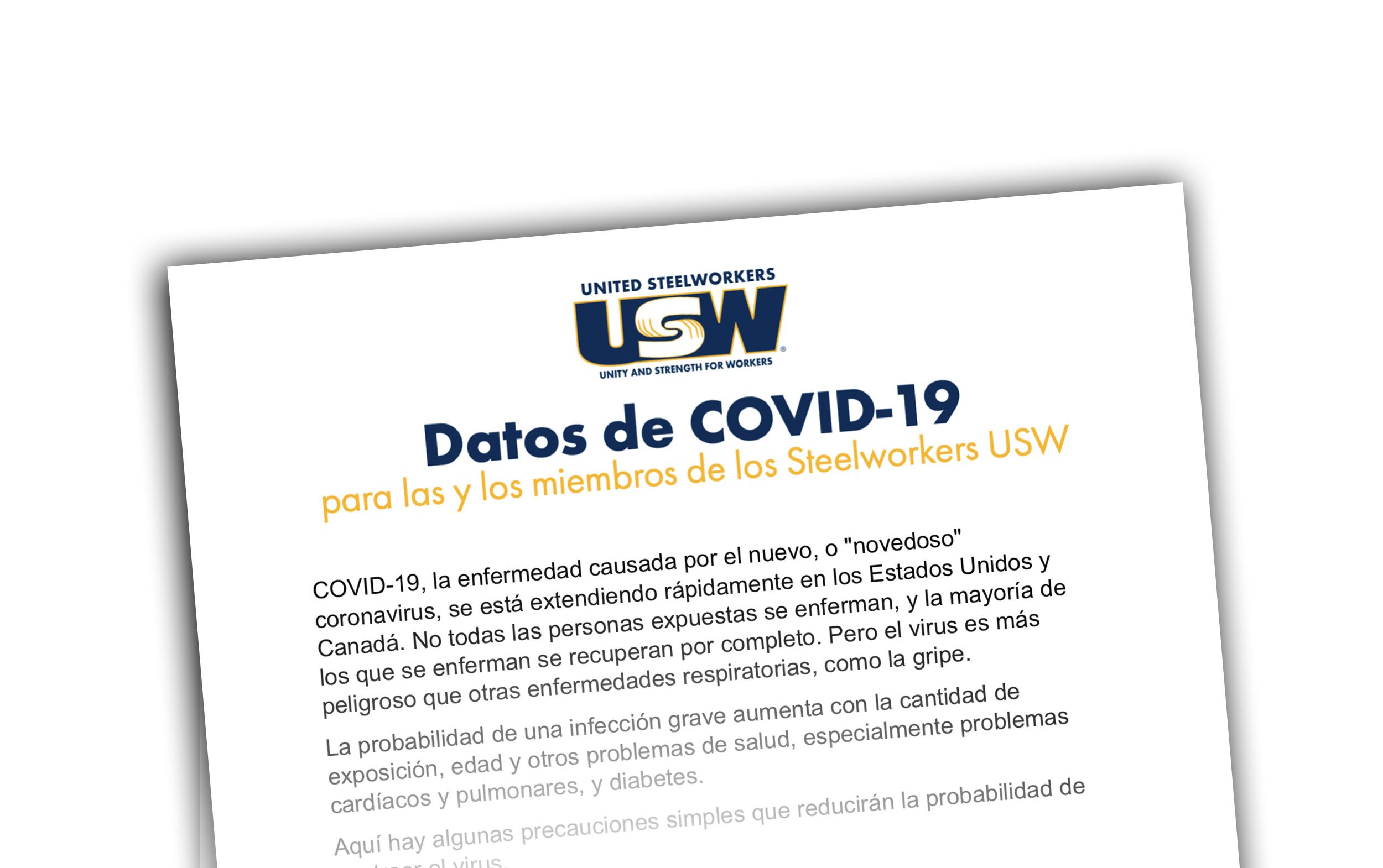 COVID-19 Facts for USW Members in English and en Español